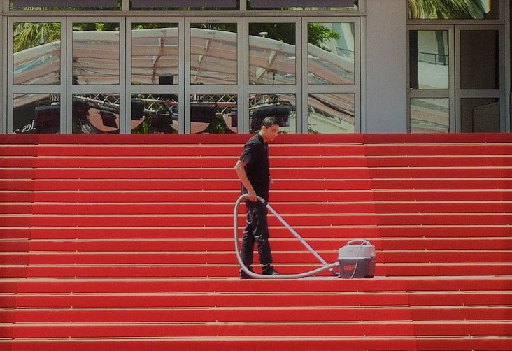 Image of stairs being cleaned