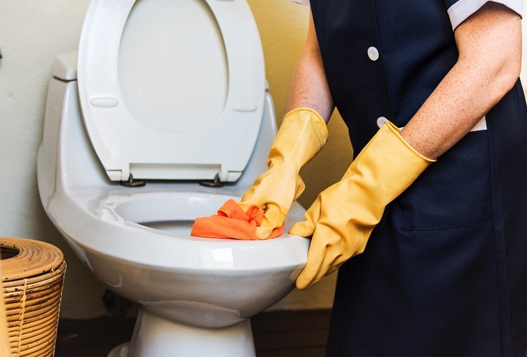 Image of a toilet being cleaned